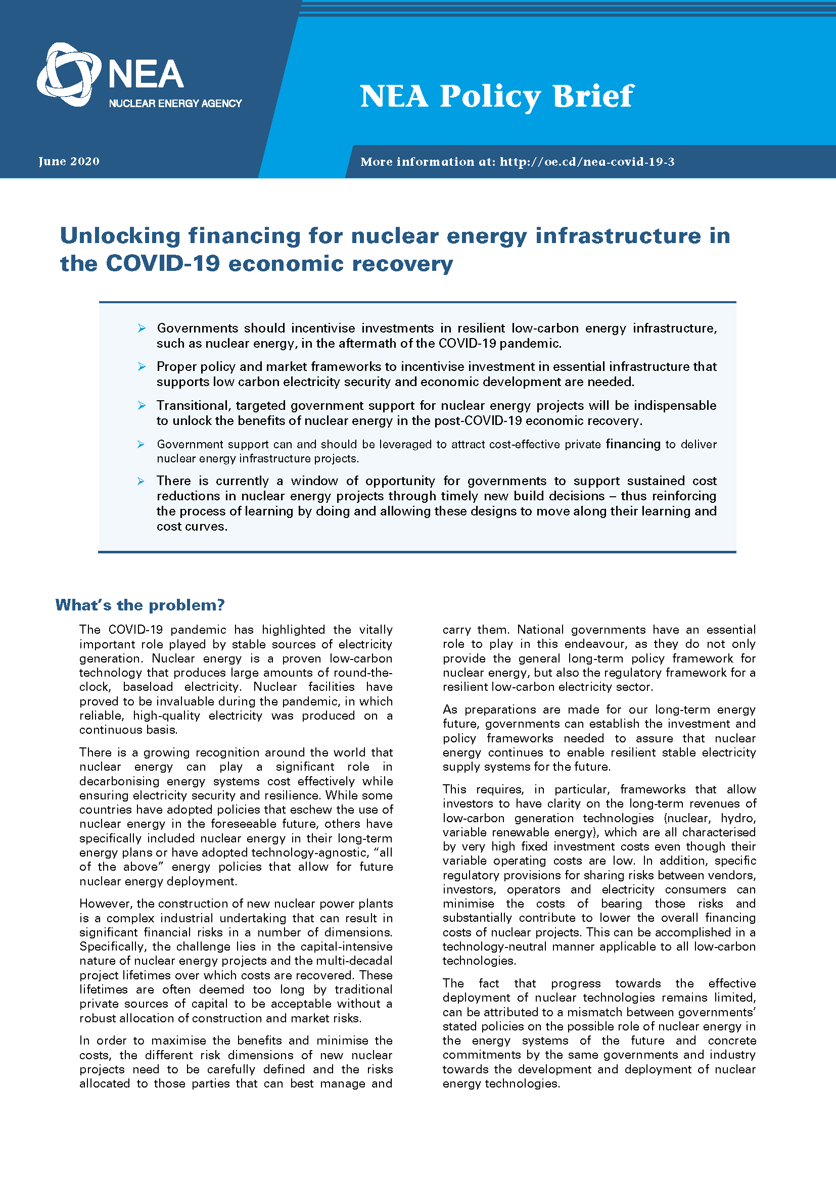Unlocking financing for nuclear energy infrastructure in the COVID-19 economic recovery
