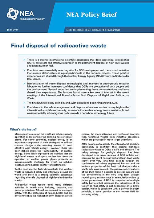 Final disposal of radioactive waste